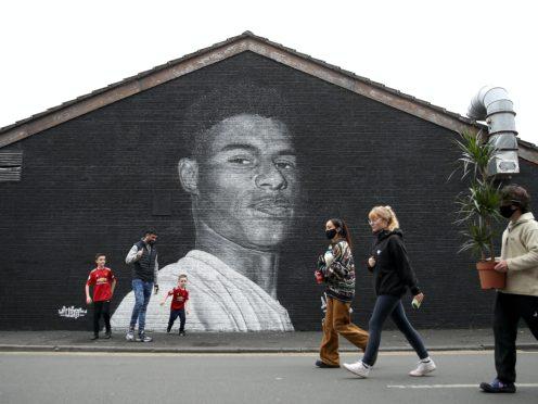 A mural of Manchester United striker Marcus Rashford by street artist Akse (Martin Rickett/PA)