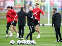 Wales caretaker boss Robert Page takes charge of training in Ryan Giggs' absence (Nick Potts/PA)