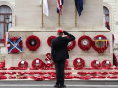 A member of the armed services gives a salute at the Cenotaph on Whitehall in London as the nation fell silent to remember the war dead on Armistice Day (Yui Mok/PA)