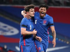 Harry Maguire (left) celebrates scoring against the Republic of Ireland (Nick Potts/PA)