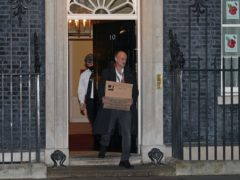 Prime Minister Boris Johnson's top aide Dominic Cummings leaves 10 Downing Street on Friday night (Yui Mok/PA)