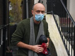 Dominic Cummings outside his north London home after he resigned from his role as Prime Minister Boris Johnson's top aide, following director of communications Lee Cain. Both will continue to work for the Prime Minister and Downing Street until mid-December (PA)