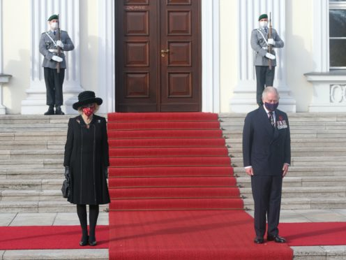 The Duchess of Cornwall and the Prince of Wales outside Bellevue Palace, Berlin (Jonathan Brady/PA)