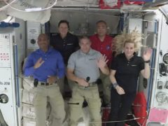 Nasa astronauts from left to right pilot Victor Glover, mission specialist Shannon Walker, Crew Dragon commander Michael Hopkins, Japan Aerospace Exploration Agency (JAXA) astronaut and mission specialist Soichi Noguchi and flight engineer Kate Rubins (Nasa via AP)