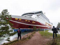 Cruise ship Viking Grace, run aground with passengers on board, south of Mariehamn, Finland (Niclas Nordlund/Lehtikuva via AP)