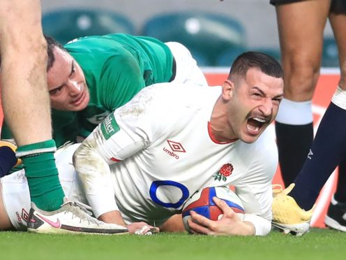 Jonny May scores the first of his two tries against Ireland (Adam Davy/PA)