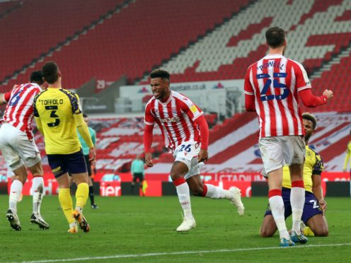 Tyrese Campbell, centre, scored a brace in the seven-goal thriller (Barrington Coombs/PA)