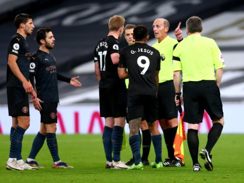 Manchester City were frustrated to have a goal disallowed by referee Mike Dean (Clive Rose/PA)