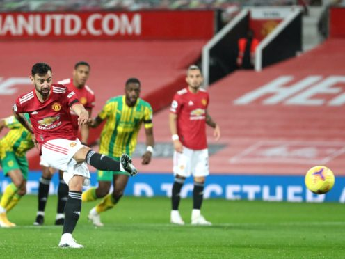 Bruno Fernandes scored from the penalty spot against West Brom (Catherine Ivill/PA)