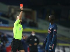 Nicolas Pepe must serve out a three-match domestic ban following a red card at Leeds (Molly Darlington/PA)
