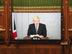 Prime Minister Boris Johnson appearing via video link from 10 Downing Street to make a statement to the House of Commons (UK Parliament/Jessica Taylor/PA)