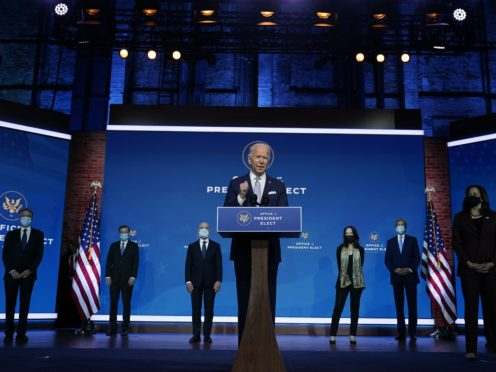 President-elect Joe Biden and vice president-elect Kamala Harris introduce their nominees and appointees to key national security and foreign policy posts (Carolyn Kaster/AP)