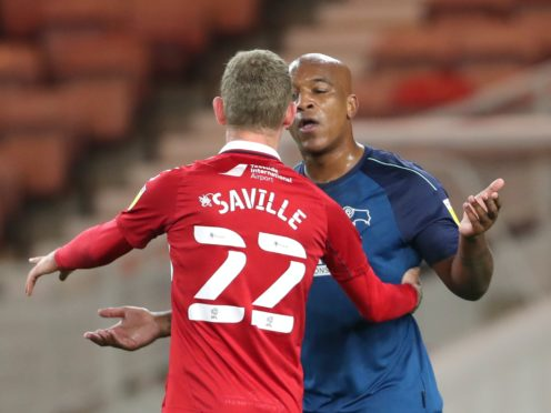 Middlesbrough's George Saville exchanges words with Derby's Andre Wisdom (Richard Sellers/PA)