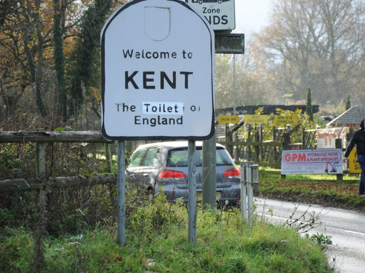 Road signs across Kent were changed by a group of campaigners opposed to Brexit (EU Flag Mafia/PA)