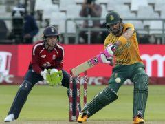 South African batsman Faf Du Plessis swings at the ball (Halden Krog/AP)