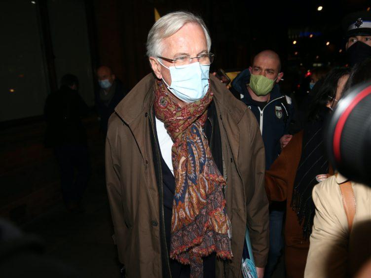 EU's chief negotiator Michel Barnier arrives by Eurostar at St Pancras International railway station, London (Yui Mok/PA)