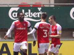 Rotherham United's Freddie Ladapo (left) celebrates scoring his side's first goal (Richard Sellers/PA)