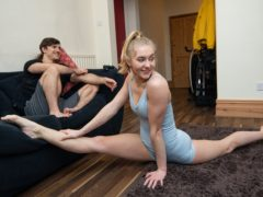 Circus artists Abbie Mason and Ben Jones train at their home in Birmingham, during the final week of a four week national lockdown to curb the spread of coronavirus (Jacob King/PA)