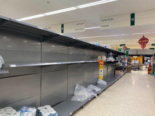 Empty toilet roll shelves in Morrisons in Norwich on Monday (@DrBradMcKenna/Twitter)