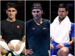 Roger Federer, Rafael Nadal and Novak Djokovic (PA)