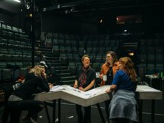 Director Caitlin Skinner, writer Ellie Stewart and performers Kim Gerard and Beth Marshall at rehearsals for Hope and Joy (Jassy Earl/PA)