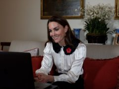 The Duchess of Cambridge's hold a video call with military families (Kensington Palace/PA)