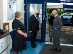 The Prince of Wales was taken on a socially distanced tour of the hospital by Matron Sarah Taylor (Henry Arden/PA)