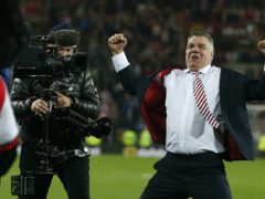 Sunderland manager Sam Allardyce celebrates after keeping them up (Owen Humphreys/PA)