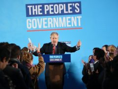 Prime Minister Boris Johnson at a rally with party supporters (PA)