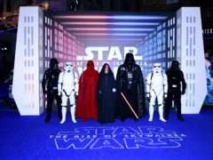 Star Wars characters Darth Vader, an Imperial Royal Guard, Emperor Palpatine and Stormtroopers attending the Star Wars: The Rise Of Skywalker premiere in London (Ian West/PA)