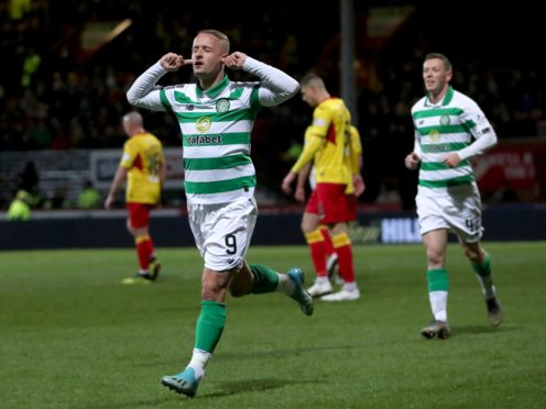 Leigh Griffiths celebrates Celtic's first goal on their road to Hampden (Jane Barlow/PA)