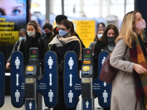 More than one in three people are worried about the prospect of travelling through busy public transport stations and airports over the Christmas period, a new survey suggests (Victoria Jones/PA)