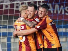 Harry Pritchard (centre) broke the deadlock for Bradford (Tess Derry/PA)
