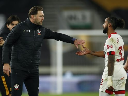 Southampton manager Ralph Hasenhuttl (left) has been impressed with the attitude of Theo Walcott since his return to St Mary's Stadium (Andrew Boyers/PA)