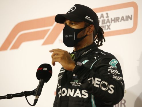Lewis Hamilton will miss this weekend's Sakhir Grand Prix after testing positive for coronavirus (Hamad Mohammed, Pool via AP)