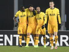 Tottenham's Son Heung-min celebrates after scoring in Linz (Andreas Schaad/AP)