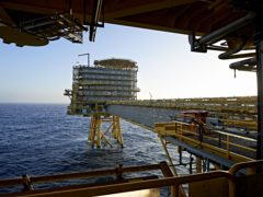 Moller-Maersk's oil rig in the North Sea (Claus Bonnerup/Polfoto via AP,file)