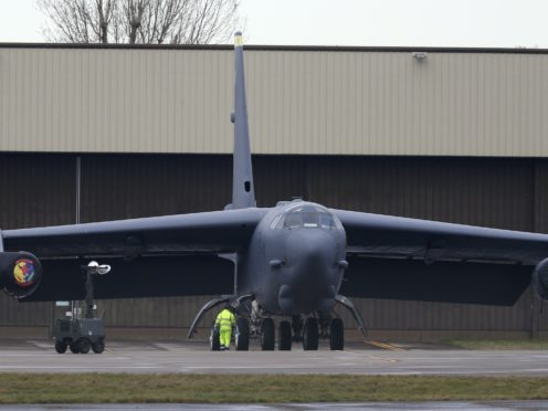 The B-52 bomber at RAF Fairford in Gloucestershire after it made an emergency landing due to engine issues (Steve Parsons/PA Wire)