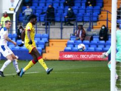 Elijah Adebayo scores Walsall's first goal (Tim Markland/PA)