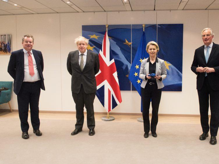 Lord Frost, Boris Johnson, European Commission president Ursula von der Leyen and Michel Barnier (Etienne Ansotte/European Commission/PA)