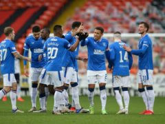 James Tavernier, centre, scored in Rangers' win at Dundee United (Willie Vass/PA)