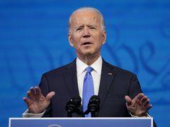 President-elect Joe Biden speaks after the Electoral College formally elected him as president (Patrick Semansky/AP)