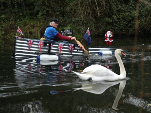 Michael Stanley, known as Major Mick, makes his way along the Chichester canal (Andrew Matthews/PA)