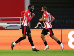 Bryan Mbeumo, right, celebrates one of his goals (John Walton/PA)