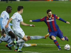Lionel Messi, centre, equalled Pele's record (AP Photo/Joan Monfort)