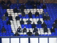 A general view of Everton fans in the stands during the Premier League match at Goodison Park, Liverpool (Peter Powell/PA)