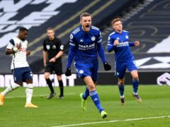 Jamie Vardy (centre) opened the scoring for Leicester (Andy Rain/PA)