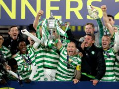 Celtic celebrate another trophy (Andrew Milligan/PA)