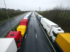 Lorries parked on the M20 near Folkestone, Kent, as part of Operation Stack (Steve Parsons/PA)