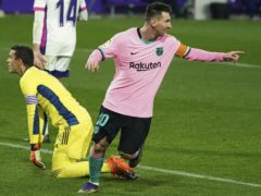 Lionel Messi took his chance during the second half to set a new goalscoring record (Cesar Manso/Pool via AP)